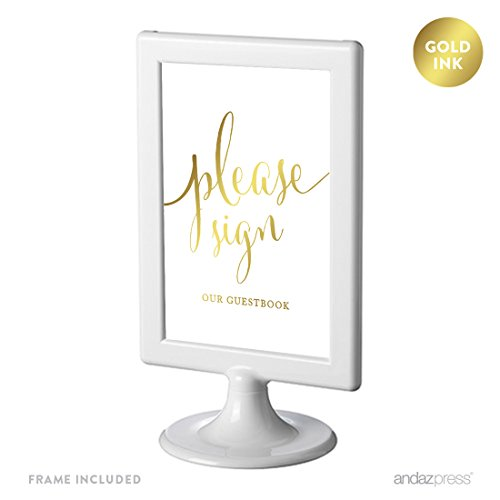 - Andaz Press Framed Wedding Party Signs, Metallic Gold Ink Print, 4x6-inch, Please Sign our Guestbook, 1-Pack, Includes Frame