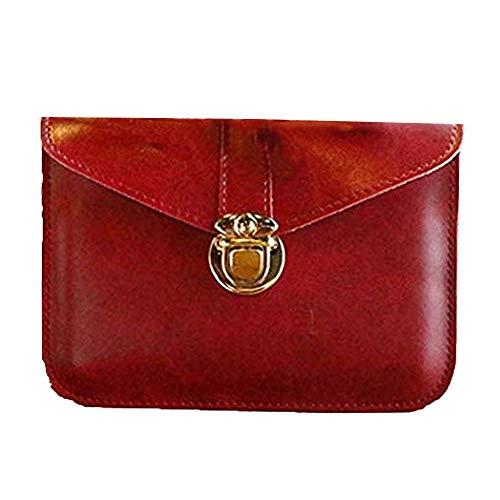edfamily Women Girls Mini Handbags Leather Crossbody Single Shoulder Bag Cellphone Pouch Purse Wallet (Red)