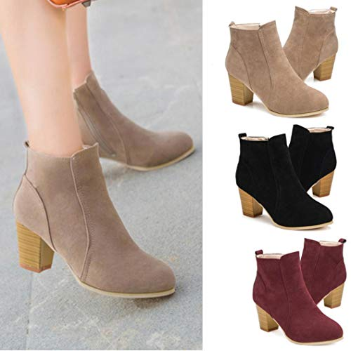 Bed 35' Khaki - Gyoume Women Ankle Boots Shoes Winter Zipper Boots Mid-High Wedge Boot Shoes Ladies Dress Shoes