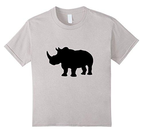 Black Rhinoceros Animals (Kids Rhino Rhinoceros t-shirt Black Silhouette Zoo Jungle Animal 4 Silver)