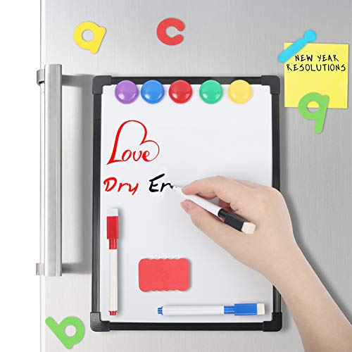 3 otters 9 x 12 inch Small Dry Erase Whiteboard, White Erase Board Magnetic Framed Dry Erase White Board, with 4 Kinds of Accessories, for Fridge, Locker