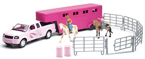 Valley Ranch Pink Pick Up Truck and Horse Trailer Playset Pickup Ranch