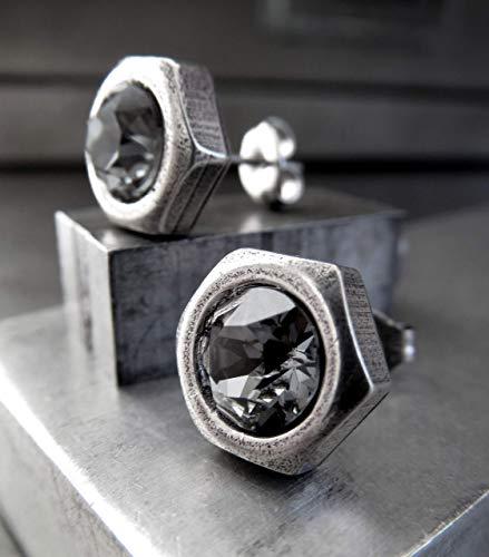 Mens Hex Nut Stud Earrings, Black Night Swarovski Crystal, Silver Plated, Unisex Hardware Jewelry ()