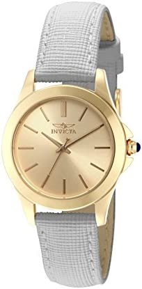 Invicta Women s 15149 Angel 18k Yellow Gold Ion-Plated Stainless Steel Watch with White Leather Band