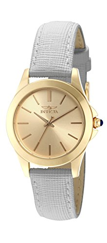 Invicta Women's 15149 Angel 18k Yellow Gold Ion-Plated Stainless Steel Watch with White Leather Band ()