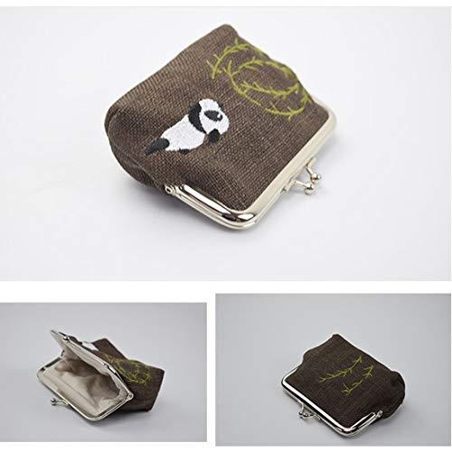 Bouche Le Sac Color de Dames de de d'or Changer 02 Tsutou Tissu Carte Sac de de Panda Sac de Paquet clé Broderie 01 de Ramie de U5wgqxA