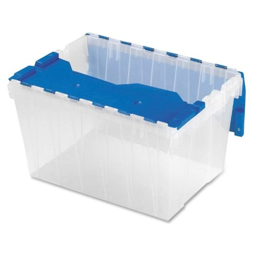 Wholesale CASE of 10 - Akro-Mils 12-Gallon Keep Box Container w/ Lid-Keep Box, 12-Gallon, 15''x21-1/2''x12-1/2'', Clear/Blue by AKM
