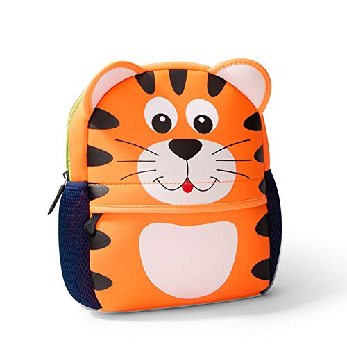 Toddler Backpack, Waterproof Children School Backpack, Neoprene Animal Schoolbag for Kids, Lunch Box Carry Bag for Boys Girls, Tiger Large