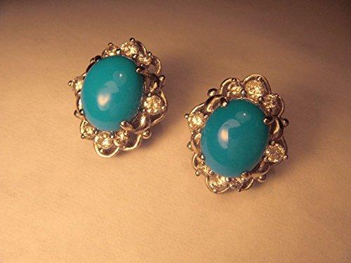 Fabulous Estate 18K White Gold Turquoise Diamond Stud Earrings (Diamond Turquoise Stud)