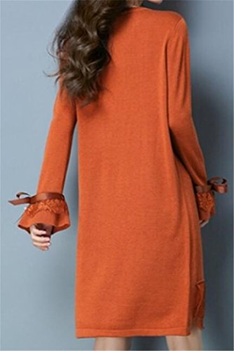 Casual Crewneck Dress Knit Lace T Long Womens Shirt Red Sleeve Cromoncent Orange Splice ZgqwR5n