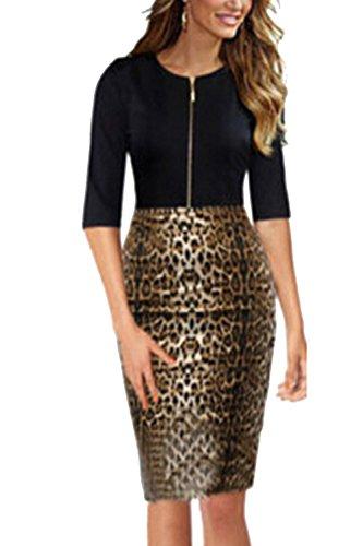 Einfachen Reißverschluss Leopard Patchwork Bodycon Kleid für Damen