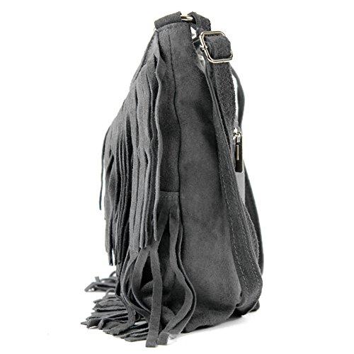 bolso Ital gamuza T125 Bolso Dunkelgrau bolso señoras bolsa Frans las cuero de del de de HXHrOx