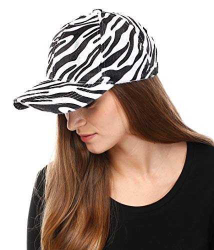 Zebra Print Hats (Me Plus Women Animal Pattern Faux Fur Calf Hair Feel Baseball Cap Hat)