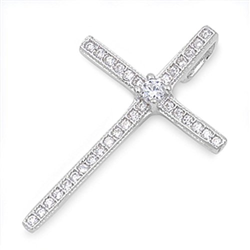 (Cross Pendant Clear Simulated CZ .925 Sterling Silver Charm - Silver Jewelry Accessories Key Chain Bracelet Necklace)