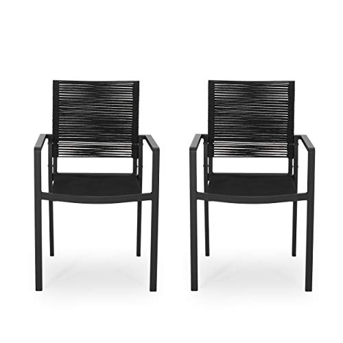 Jean Outdoor Modern Aluminum Dining Chair with Rope Seat (Set of 2), Dark Gray and Black