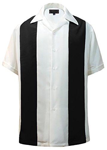 Guytalk Men's Bowling Camp Shirt Black (Panel Camp Shirt)