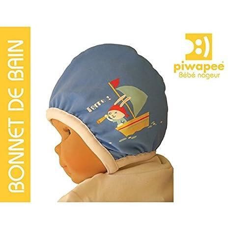 Piwapee - Bonnet de bain Bébé nageur Bleu imprimé Lapin (6-12M (TT47 ... 07bb8934f90