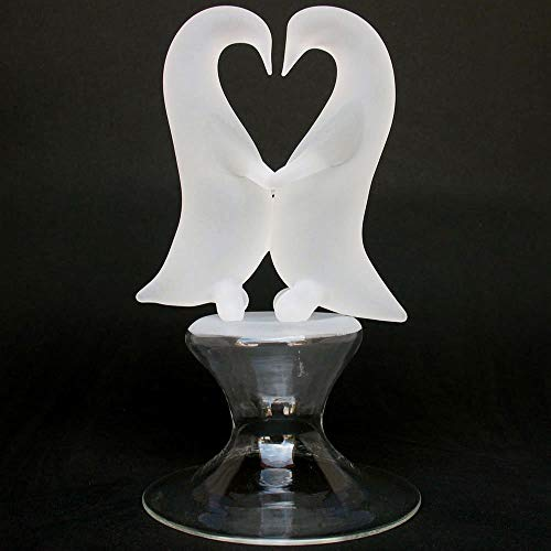 Penguins Dancing Wedding Cake Topper Figurines of Hand Blown Glass ()