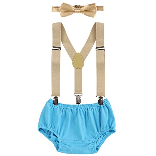 Baby Boys Cake Smash Outfit First Birthday Bloomers Bowtie Suspenders Clothes set Beige & Blue One Size