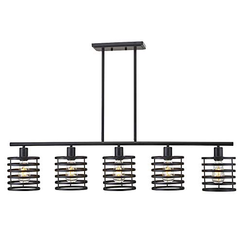 VINLUZ 5 Light Contemporary Shaded Chandelier Black Metal Modern Kitchen Island Pendant Lighting Rustic Farmhouse Ceiling Light Fixtures Dining - Contemporary Kitchen Lighting