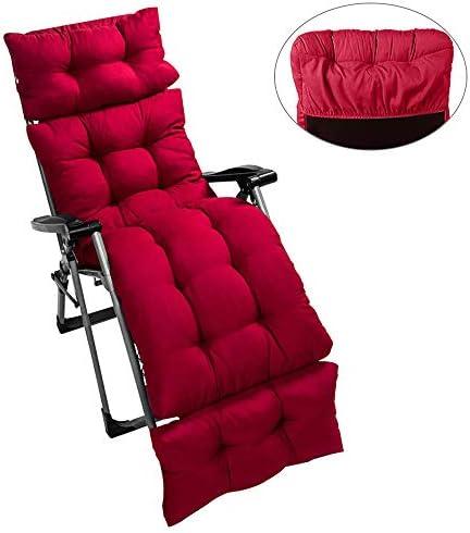 willkey Auflagen für Gartenliegen,Sonnenliege Kissen Liegenauflagen Anti-Rutsch-Design Polster Kissen Dick Bett Relax-Liegestuhl für Reisen, Urlaub, Innen, Außen 180x55x10cm (Rot)