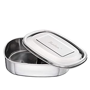 Bruntmor DEUX Two Section 18/10 Stainless Steel kids Lunch Box & Food Container, 17oz 41zbeowX  L  (Set of 6) Microwave Food Storage Tray Containers – 3 Section / Compartment Divided Plates w/ Vented Lid 41zbeowX  L