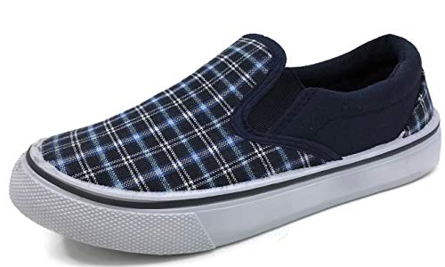 Shoe Skateboarding Boys (Kid's Classic Slip On Canvas Sneaker Tennis Shoes,ARider Navy Plaid, 3 US Little Kid)