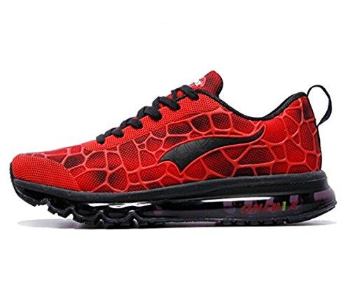 ONEMIX Air Zapatillas de Running para Hombre Zapatos para Correr y Asfalto Aire Libre y Deportes Calzado Negro rojo
