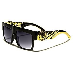 Flat Top Gold Chain Link Hip Hop Rapper Aviator Celebrity Sunglasses BLACK
