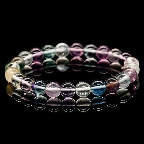 Zozu A+++ Round Beads Aurora Fluorite Bracelet Natural Quartz Stone Bracelet for Women and Men Stretch Energy Bracelet 2017 -