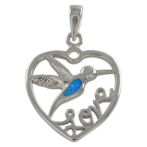 Pendant Sterling Hummingbird (Sterling Silver Blue Created Opal Hummingbird Love Pendant)