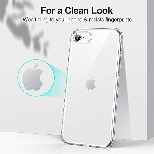 ESR Essential Zero Designed for iPhone SE 2020 Case, iPhone 8 Case, iPhone 7 Case, [Yellowing-Resistant TPU] [1.1 mm Thick Back Case] [Shock-Absorbing Air-Guard Corners] Flexible Silicone Case, Clear