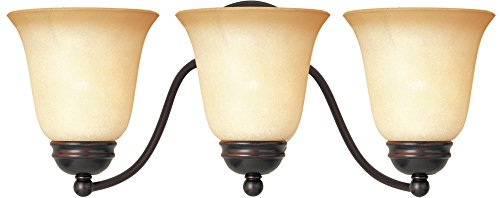 Maxim 2122WSOI Basix 3-Light Bath Vanity, Oil Rubbed Bronze Finish, Wilshire Glass, MB Incandescent Incandescent Bulb , 60W Max., Dry Safety Rating, Standard Dimmable, Metal Shade Material, Rated Lumens