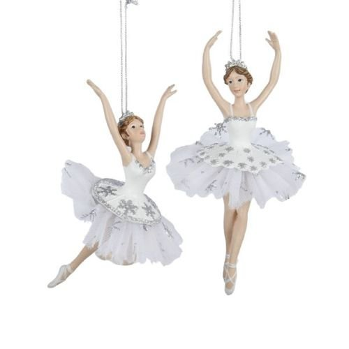 Girl 2 Ornament - Kurt Adler Resin Silver & White Ballet Christmas Ornament - Set of 2