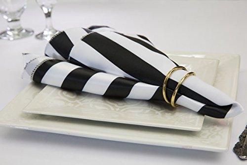 Pack of 12 lの世紀サテンナプキン  Black&white Stripe B06XYGDX43