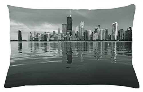 (Ambesonne Chicago Skyline Throw Pillow Cushion Cover, Nostalgic Weathered Lake Michigan Harbor Coastal Town Urban Vintage, Decorative Rectangle Accent Pillow Case, 26