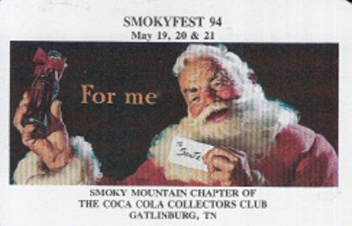 (A Single Swap Playing Card Santa Claus Holding Coca-Cola Bottle December 1994 Smoky Mountain Chapter of The Coca-Cola Collectors Club Gatlinburg TN)