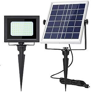 Solar Flood Lights Outdoor UPONUN 60LED IP67 Waterproof Solar Spot Lights Rechargeable Solar Security Lights Auto ON Off…