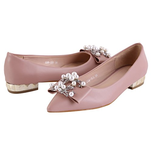 Damara Womens Chic Beaded Decoration Low Top Heeled Shoes Pink 9jWQ1E7AU
