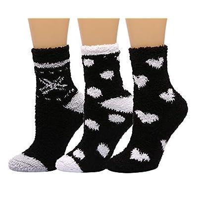 HELN Women Slipper Socks Cozy Soft Warm Winter Anti-Skid Crew Socks for Indoor Home Slipper 3 or 6 Pairs (3 Pairs Black & White Heart) at Women's Clothing store