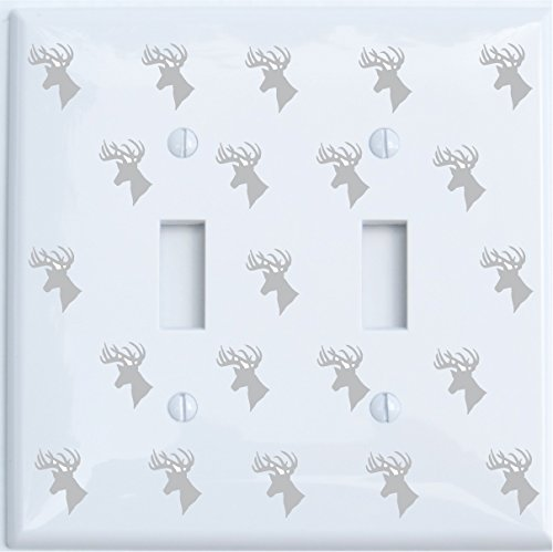 Grey Deer Light Switch Plates and Outlet Covers/Woodland Forest Animals Nursery Wall Decor (Double Toggle)