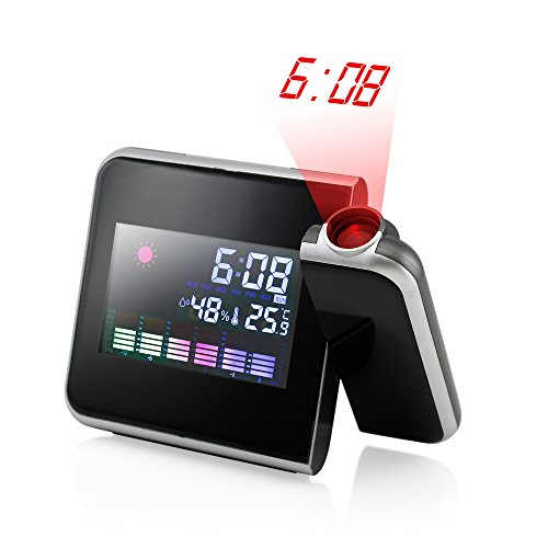 GEARONIC TM Projection Digital Weather Black LED Alarm Clock Snooze Color Display w/ LED Backlight