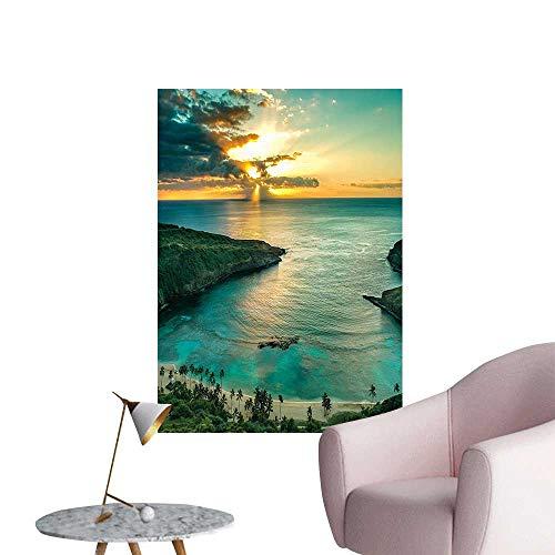 (Wall Stickers for Living Room Over Hanauma Bay Oahu Sunbeams Through Dark Clouds Shorel L Teal Vinyl Wall Stickers Print,16