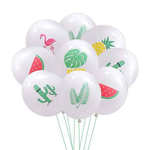 Amosfun 60pcs 12 Inches Hawaii Balloon Tiki Latex Balloon Luau Party Decorations(Flamingo +Monstera+Watermelon+Pineapple+Palm Tree Leaves+Cactus, 10pcs for Each One) -