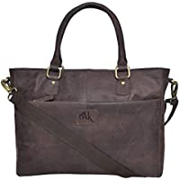 "Genuine Leather Laptop Messenger Bag - Premium Office Briefcase 13"" Macbook Professional College Mens Womens Side Bags"