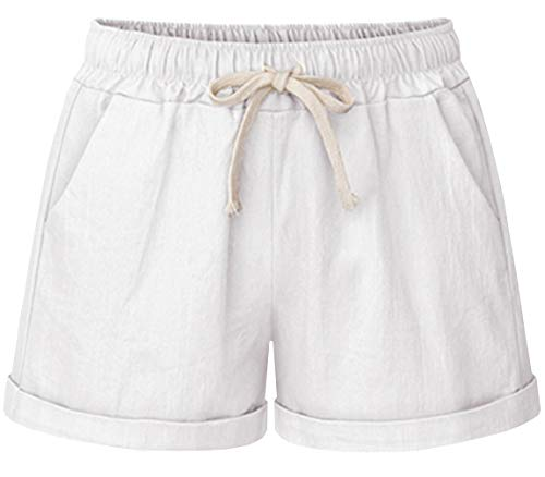 (HOW'ON Women's Elastic Waist Casual Comfy Cotton Linen Beach Shorts with Drawstring White L)