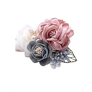 Creaon Artificial Floral Hand Flower Wedding Wrist Flower Wrist Corsage Women Bride Bridesmaid Wrist Flower Exquisite Wedding Ribbon Flower Artificial Rose Flowers for Wedding Decoration 84