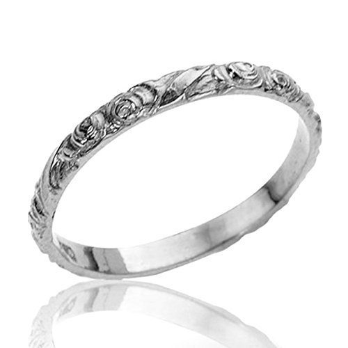 Handmade Vintage Style Floral Engraved 14k White Gold Wedding Band Unique Designer Stackable Ring SIZE 9