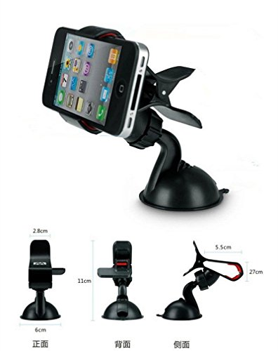 Theera - 360°Universal Car Windscreen Suction Mount Holder Fits Various Phones GPS S4 S5 YRS 0070