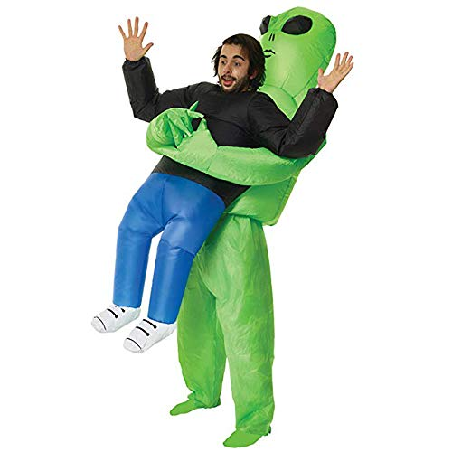 (Inflatable ET Monster Costume Scary Green Alien Cosplay Costume for Woman Adult Masquerade Halloween Party Festival Stage)